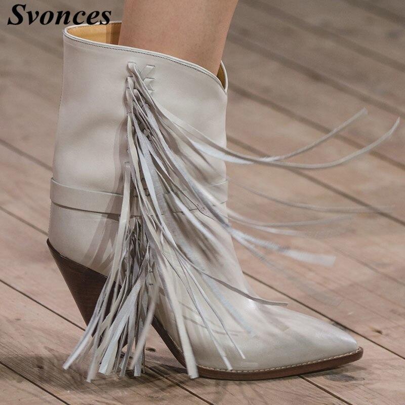 Botas Blanco Cuero Invierno Botines Mujer Talones Chunky Vaquero Zapatos  Otoño Mujeres Paris De Para 2018 ... 9b4747a8ade1a