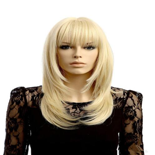 Long Bangs Blonde Women Costume Cosplay Cut Straight Short Blond And Wavy+cap >>>girls Cosplay wig Free shipping