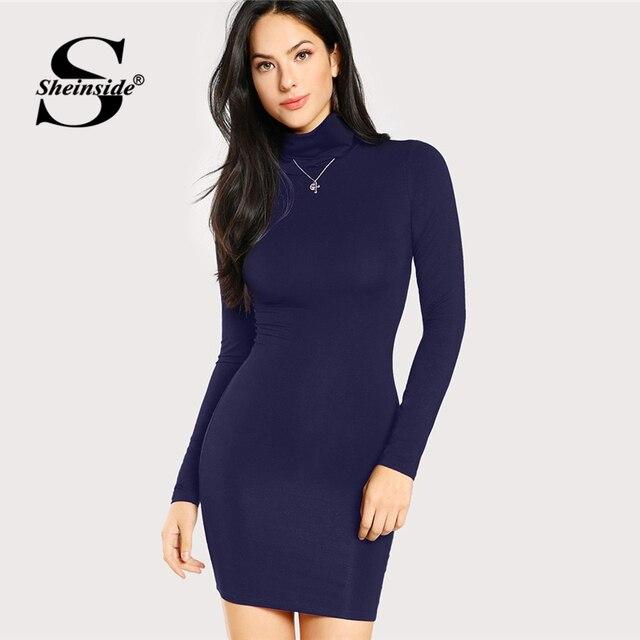 Sheinside Blue Turtleneck Form Fitting Solid Bodycon Dress Women Long Sleeve  Mini Dresses 2018 Elegant Clothes Slim Pencil Dress a38a900c2ad1