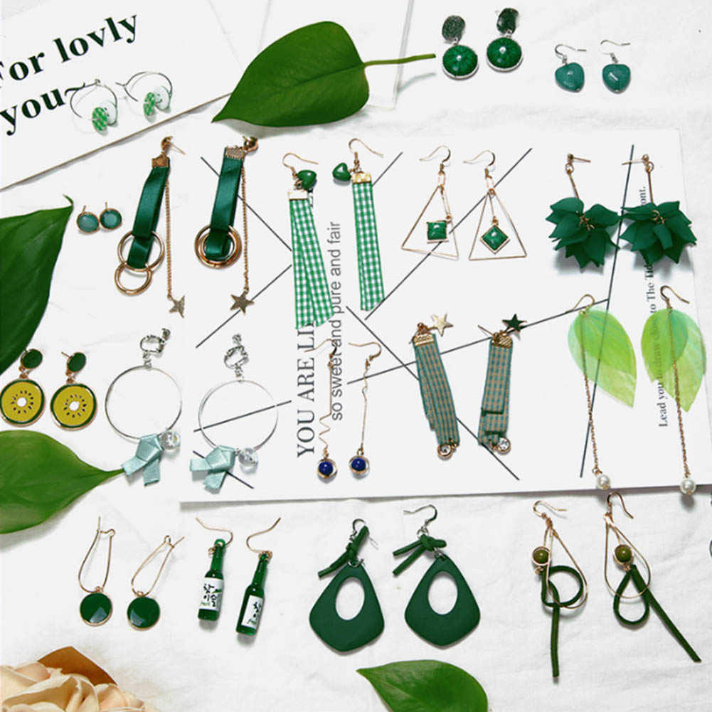 New Hot Embellishment Simple Retro Leaves Green Leaves Earrings, Imitation Pearls Long Tassel Feather Earrings Brincos