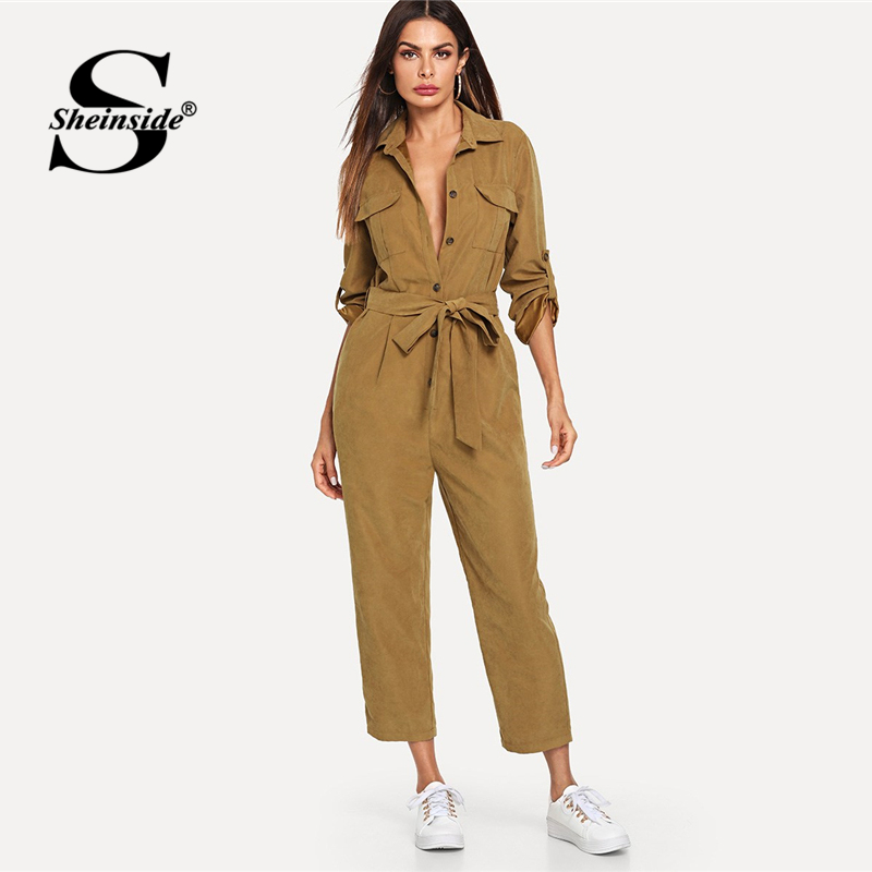 Sheinside Khaki Elegant Jumpsuit Roll Tab Sleeve Button Front Self Belted Jumpsuit Women Clothes 2018 Mid Waist Autumn Jumpsuits-in Jumpsuits from Women's Clothing