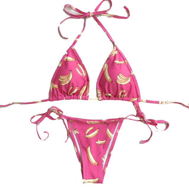 11017b3b2859a FGHGF 2018 New PINK Banana Sexy micro bikini Set Top Swimsuit Swimwear  Bathing Suit Monokini push up Bikinis Beach wear
