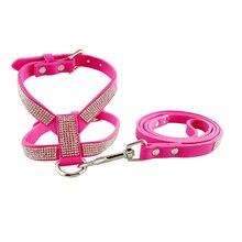 Rhinestone Dog Harness & Leash Set Soft Suede Fabric  Shining Diamonds Pet Collar Harnesses for Small Medium Dogs