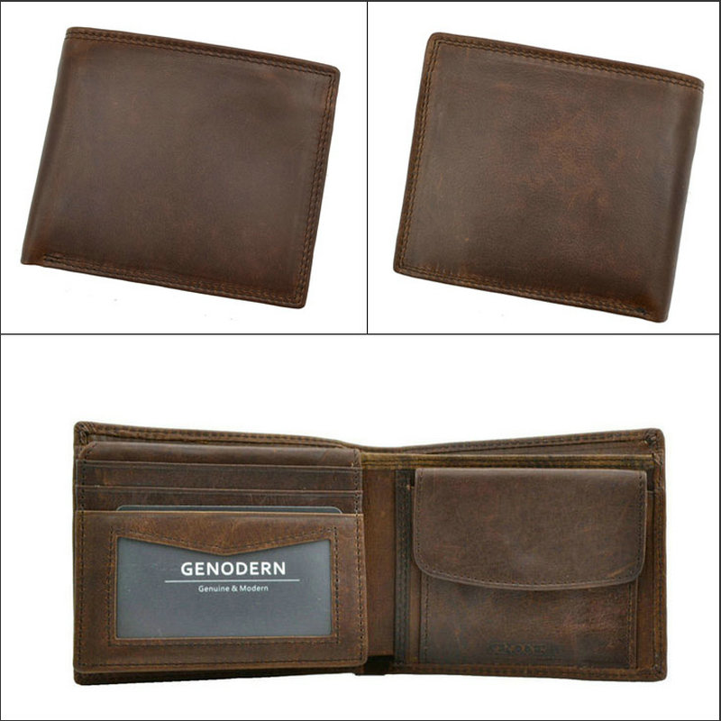GENODERN Cow Leather Men Wallets with Coin Pocket Vintage Male Purse Function Brown Genuine Leather Men Wallet with Card Holders 4