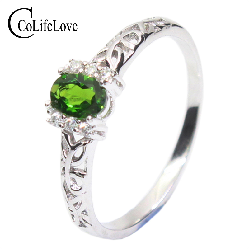 Promotion natural chrome diopside ring real 925 sterling silver engagement ring for woman fashion silver Russian Emerald jewelryPromotion natural chrome diopside ring real 925 sterling silver engagement ring for woman fashion silver Russian Emerald jewelry