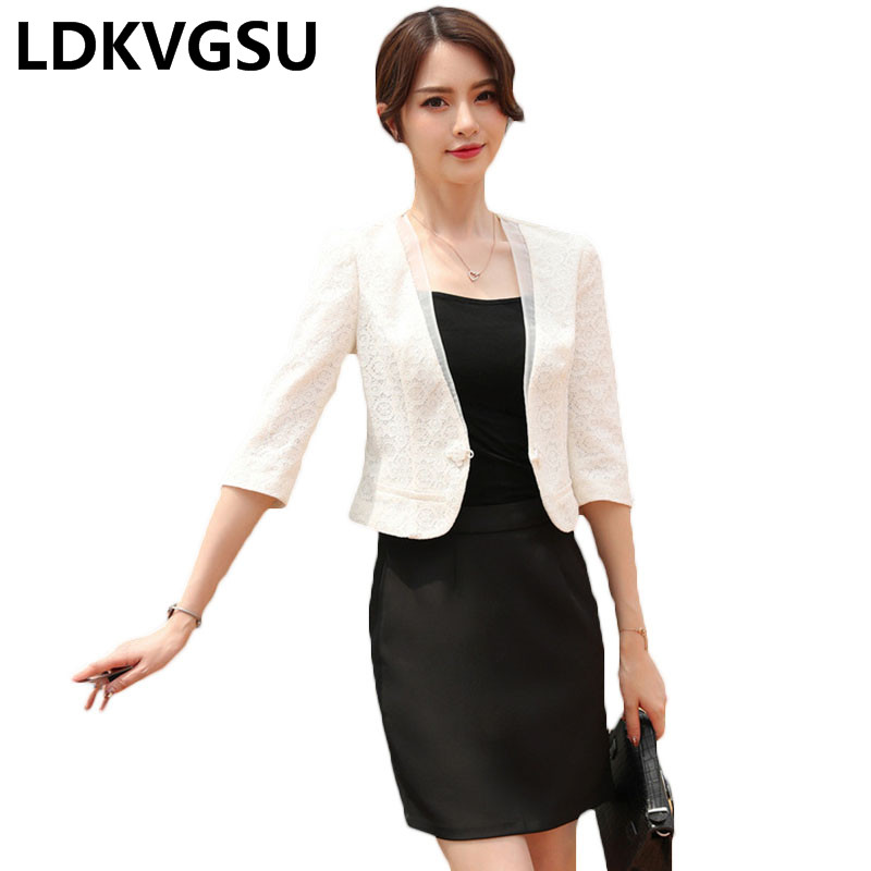 Ladies Small Suit Jacket 2018 Spring Summer New Fashion Elegant Lace Coat Women OL Slim  ...