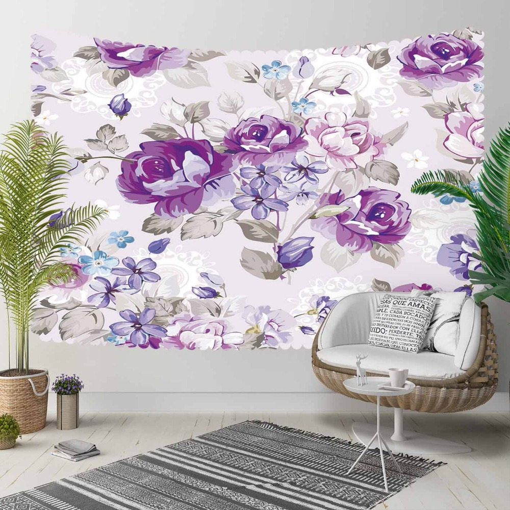 Else Purple Vintage Roses Flowers Floral Authentic 3D Print Decorative Hippi Bohemian Wall Hanging Landscape Tapestry Wall Art