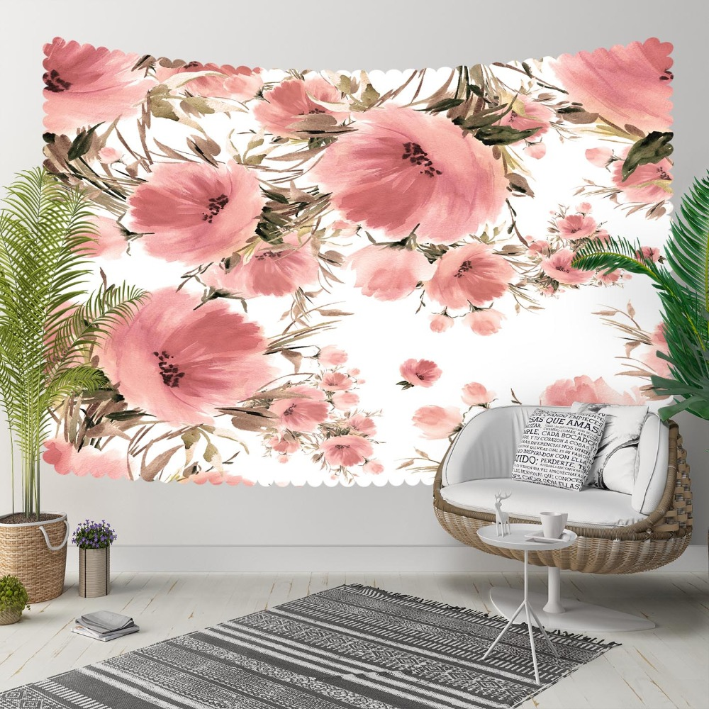 Else White Floor Pink Flowers Green Leaf Floral 3D Print Decorative Hippi Bohemian Wall Hanging Landscape Tapestry Wall Art