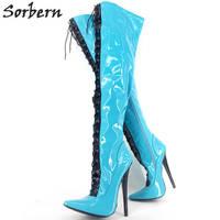 Sorbern лакированные женские сапоги 18 см высокие каблуки сапоги 2018 на шнуровке с острым носком Botines Mujer Сапоги выше колена Большие размеры