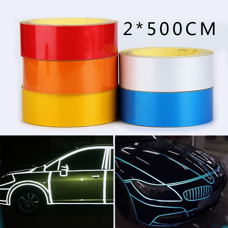 0.2*5m reflective car stickers warning reflectors tapes for motorcycles bicycles road traffic facilities automobiles decorative