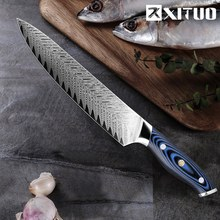 XITUO Pro Chef Knife Japanese Damascus AUS10 Steel Kitchen Santoku Frozen Salmon Slicing Best Affordable Tool Gift