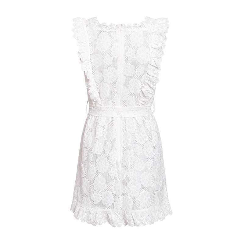 White Hollow Out Embroidery Lace Dress Women Frill Bodycon Dress With Waist Tie 2019 Summer Sundress Crochet Mini Robe Femme in Dresses from Women 39 s Clothing