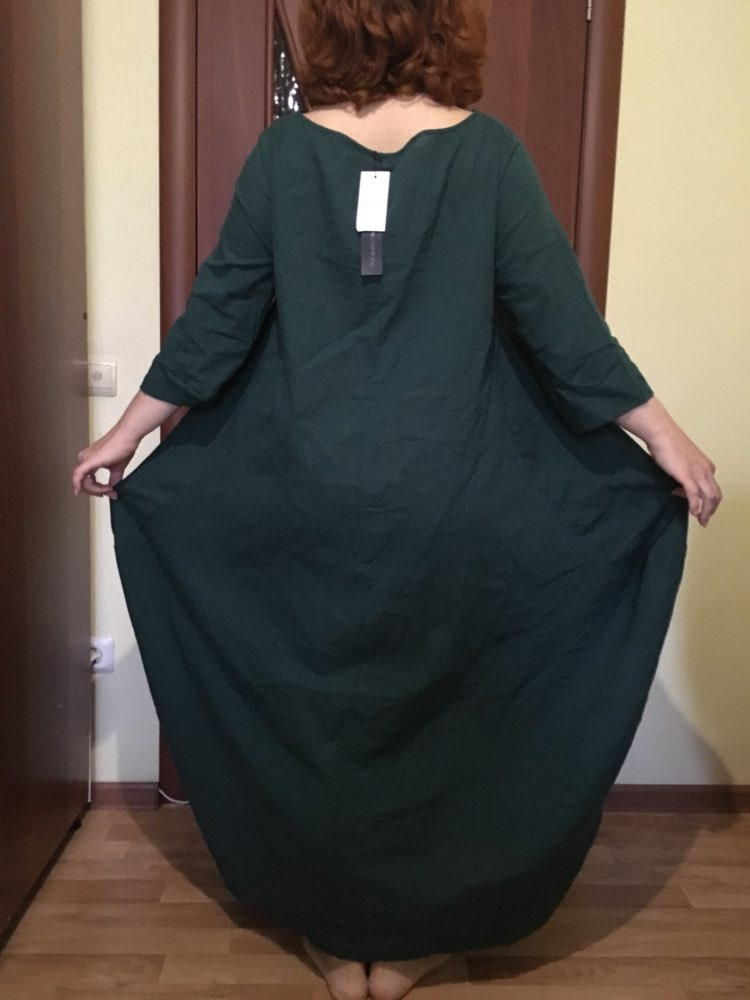 Womens Crewneck 3/4 Batwing Sleeve Baggy Maxi Long Shirt Dress Casual Party Kaftan Solid Robe Vestido Plus Size photo review