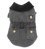 Pet Clothes Clothing For Small Dog Puppy Cat Woolen Winter Coat Jacket Faux Leather Belt Gray