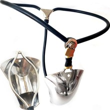 Super Invisible Male T Style Adjustable Stainless Steel Chastity Belt With Cock Penis Cage Anal Plug Adult Bondage Sex Toy 112