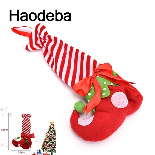 38*21cm XMAS Party Foot Shoes Stocking Chair Table Leg Covers Sleeve Big  Size Candy Gift Holders Bag Christmas Decor Kids Gifts
