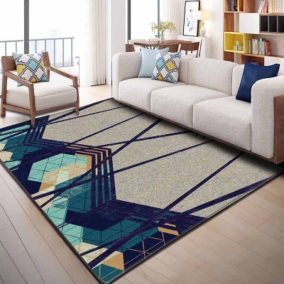 Else Blue Green Navy Blue Brown Geometric Lines 3d Print Non Slip Microfiber Living Room Decorative Modern Washable Area Rug Mat