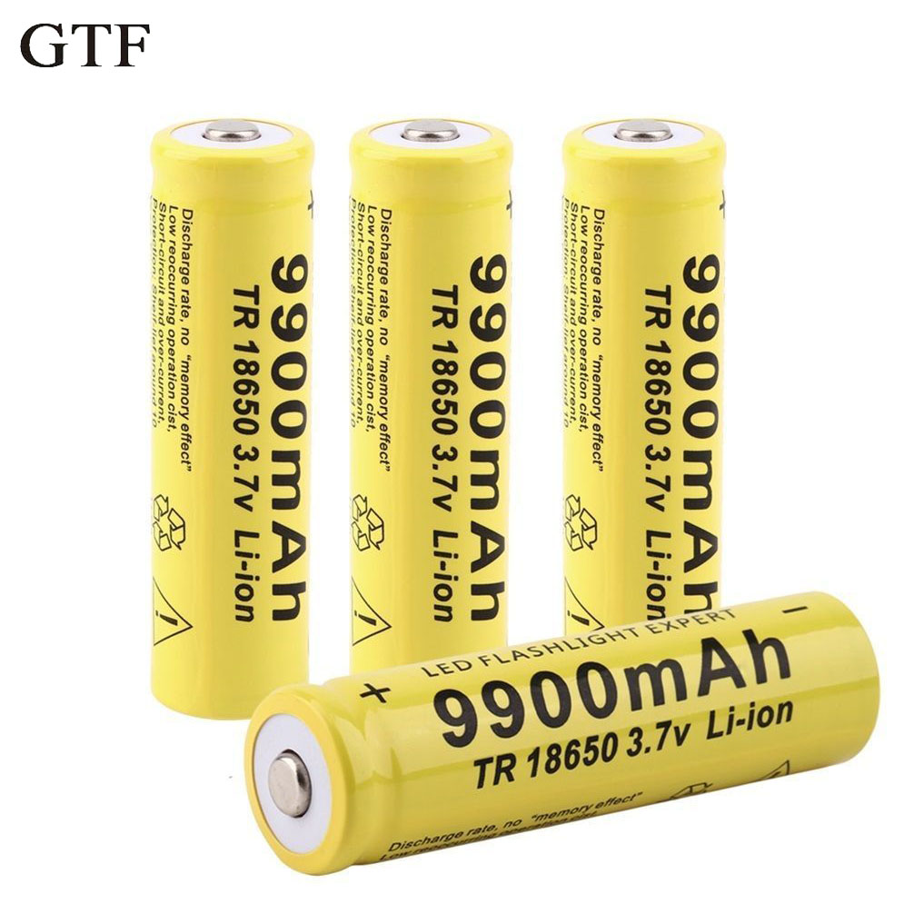 Gtf 4 pcs 18650 Batterie 3.7 v 9900 mah Rechargeable Li-ion Batterie Pour Led lampe de Poche Torche Pile