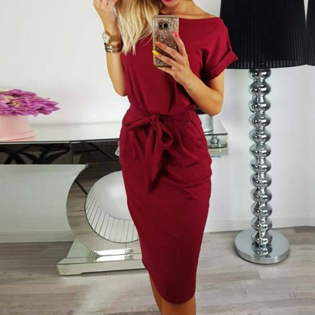 5b35df14cd4 2018 New Summer Women Casual Vintage Dress Knee-Length Sexy Bandage Bodycon  Short Sleeve Dresses Sundress vestido