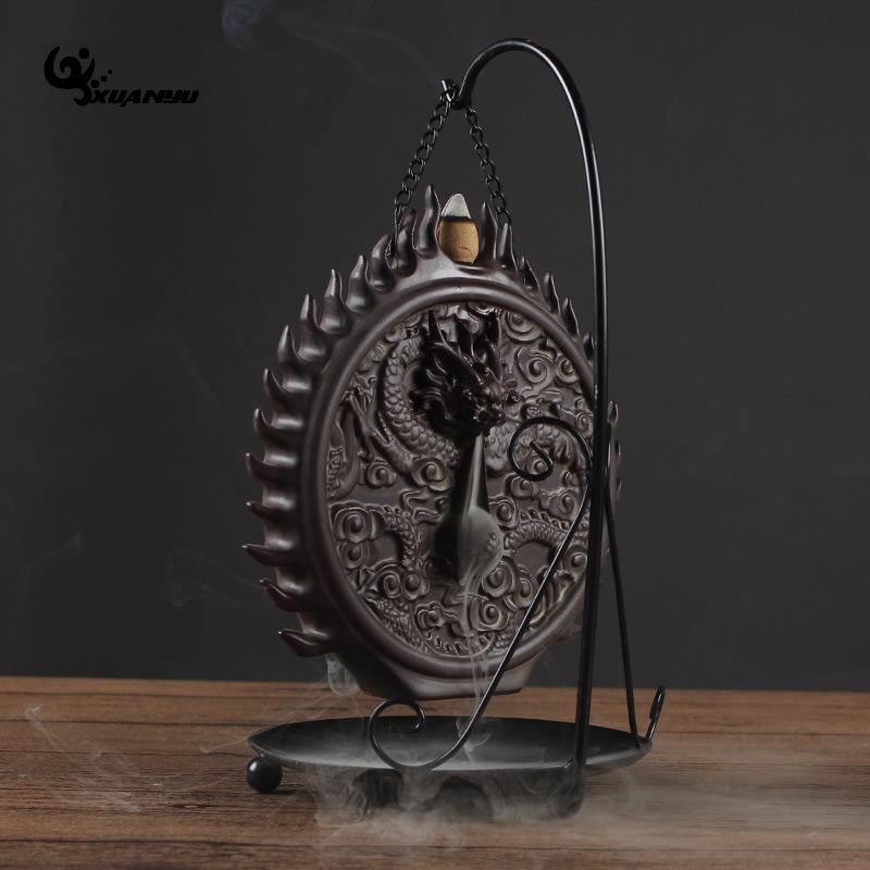 Iron Rack Ceramic Dragon Censer Smoke Backflow Incense Burner Dragon Sculptures Cone Censer Home Decoration Teahouse in Incense Incense Burners from Home Garden