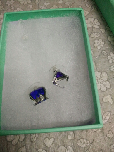 AZORA White Gold Color Stellux Austrian Crystal Blue Cube Stud Earring TE0021
