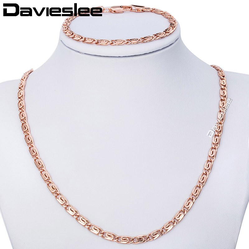 4.5MM Gold Filled Necklace Bracelet Jewelry Set Snail Link Chain Boys Mens Chain Necklace Wholesale Jewelry LGS182