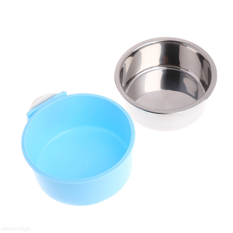 Stainless Steel Pets Food Water Bowl for Crates Cages Dog Parrot Bird Pet Feeding Fixed Bowl