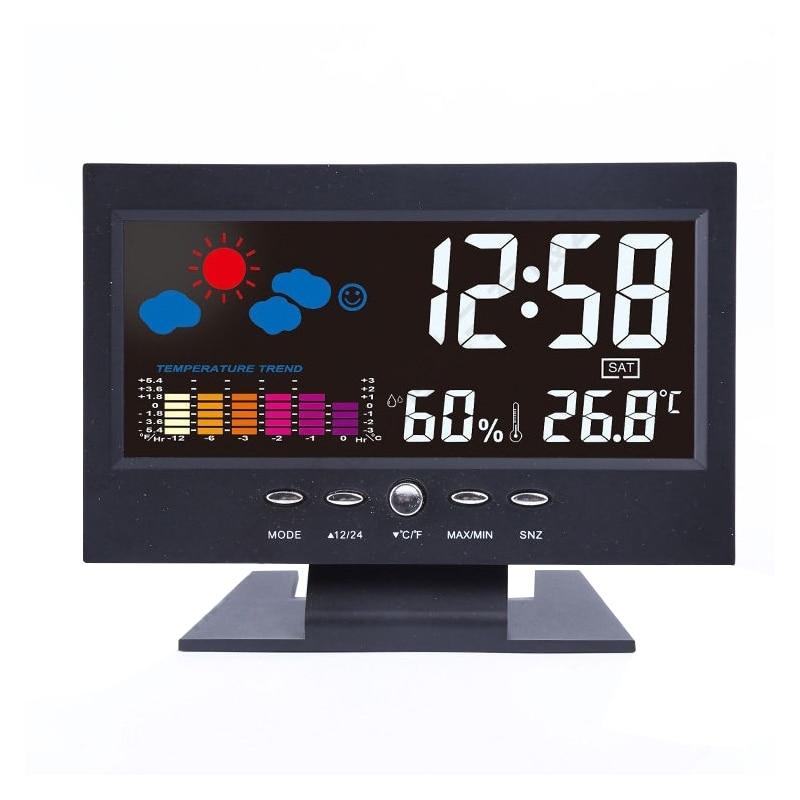 Creative LCD Digital Alarm Clocks New Acoustic Control Light Desktop Clock Weather Temperature Humidity Date Electronic