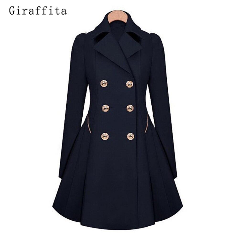 Giraffita Winter Trench Coat 2017 Hot Sale Womens Coat Classic Waist Was Thin Windbreaker Women Female Long Sleeve Overcoat