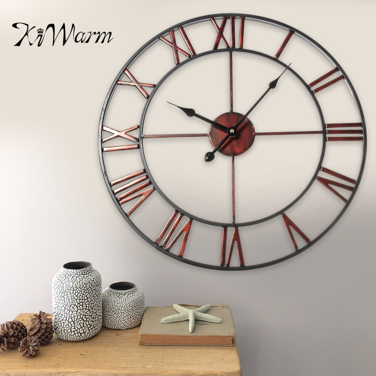 KiWarm Classic Large Metal Wrought Iron Wall Clock Provincial Roman Numerals Art Gear Decoration for Home Craft