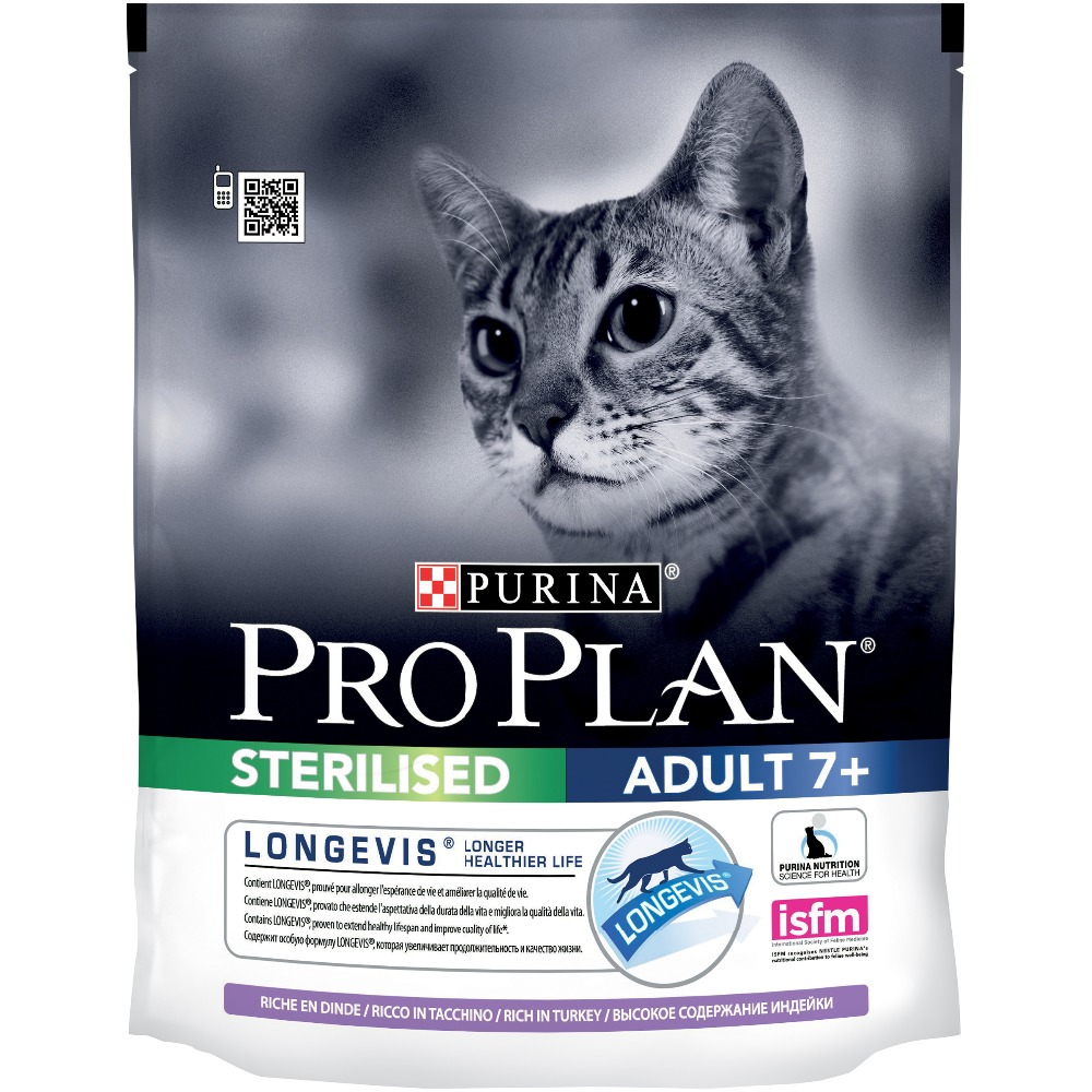 Pro Plan dry food for sterilized cats and neutered cats over 7 years old, with turkey, Package, 8 x 400 g pro plan dry food for sterilized cats and neutered cats for the maintenance of the senses with salmon 8 x 400 g