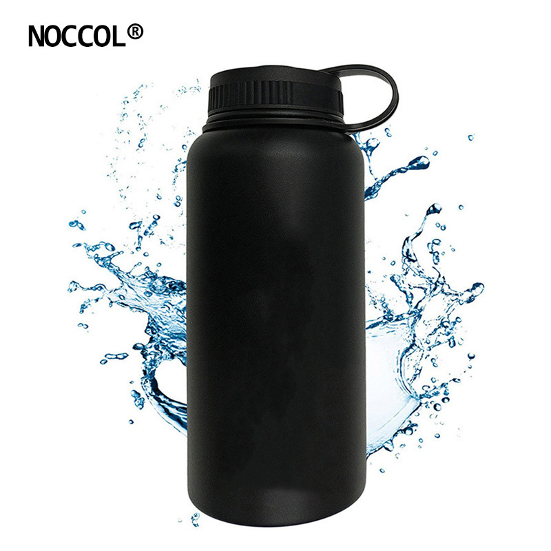 NOCCOL 32oz Black Vacuum Water Bottle Eco Friendly Outdoor Insulation Stainless Steel Drink Flask Camping Kettle Large Capacity