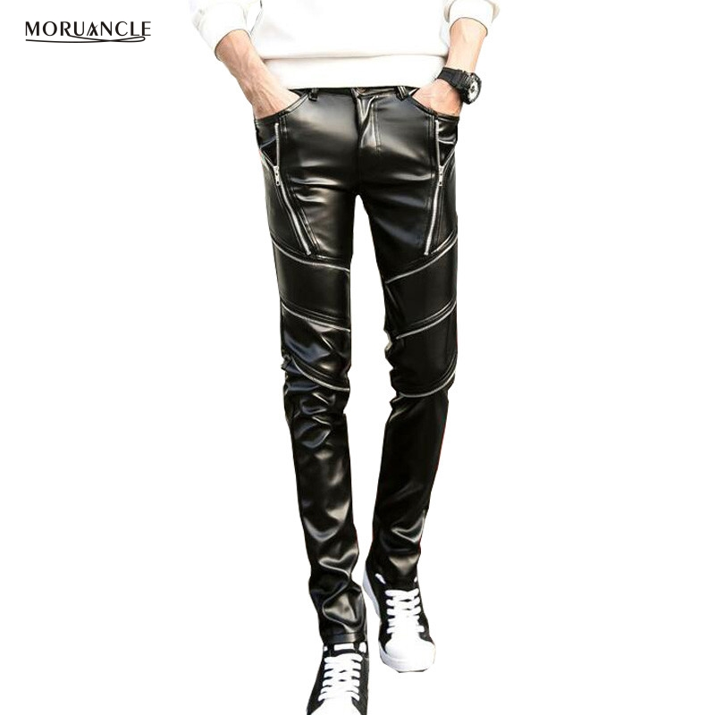 MORUANCLE New Men's Winter Warm Leather Pants Slim Fit Faux Leather Biker Trousers Fleece Lined Multi Zipper