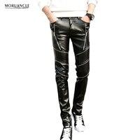 MORUANCLE New Men S Winter Warm Leather Pants Slim Fit Faux Leather Biker Trousers Fleece Lined
