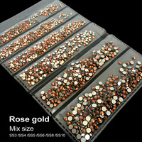New Packaging SS3 SS10 Mix Size 1728pcs Bag Rose Gold Nail Art HotFix Rhinestone DIY Flatback