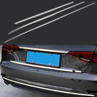 For Audi A4 Sedan B9 2016 2017 Car Rear Trunk Bumper Cover Trim Moulding 3Pcs Steel Car Chrome Styling