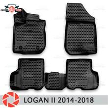 Для Renault Logan 2014-2018 коврики Нескользящие полиуретан грязи защиты внутренних Тюнинг автомобилей аксессуары