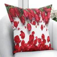 Otras hojas verdes rosas rojas corazones hojas en suelo blanco 3D estampado almohada funda cojín cubierta cuadrada oculta cremallera 45x45 cm