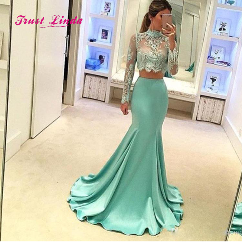 Two Piece Prom Dresses 2018 Long Sleeves High Neck Mermaid Lace Bridemaids Dresses For Wedding Vestidos De Dama