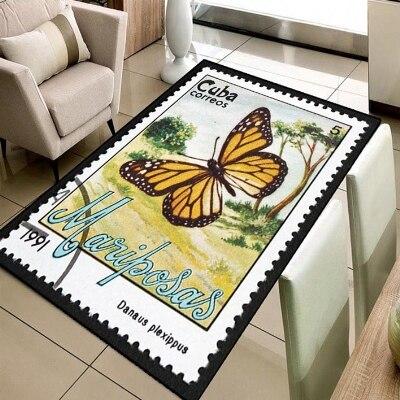 Else Floral Nature Orange Butterfly Stamps 3d Print Non Slip Microfiber Living Room Decorative Modern Washable Area Rug Mat
