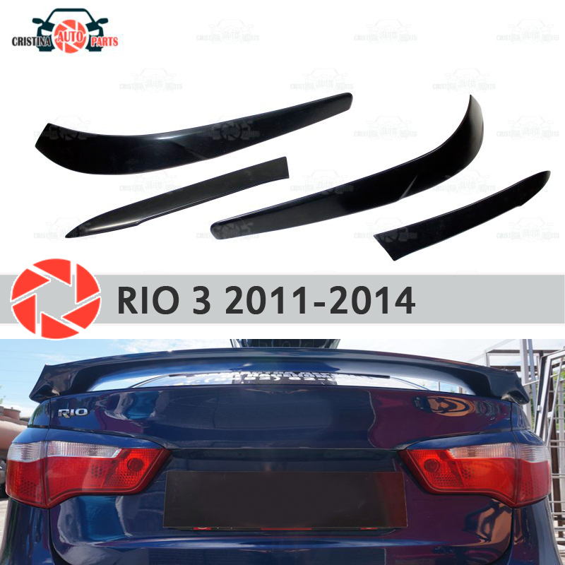 Eyebrows for Kia Rio 3 2011-2014 for rear lights cilia eyelash plastic ABS moldings decoration trim covers car styling car covers abs chrome front headlight lamp cover fit for 2012 2014 ford ranger car styling