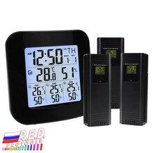 Цифровая метеостанция с термометром и гигрометром, с 3 внутренними/наружными беспроводными датчиками для температуры и влажности