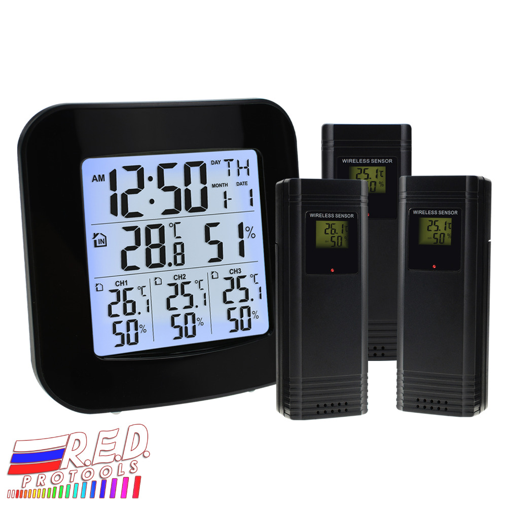 Digital Weather Station with Thermometer and Hygrometer, with 3 Indoor/ Outdoor Wireless Sensors for Temperature and Humidity