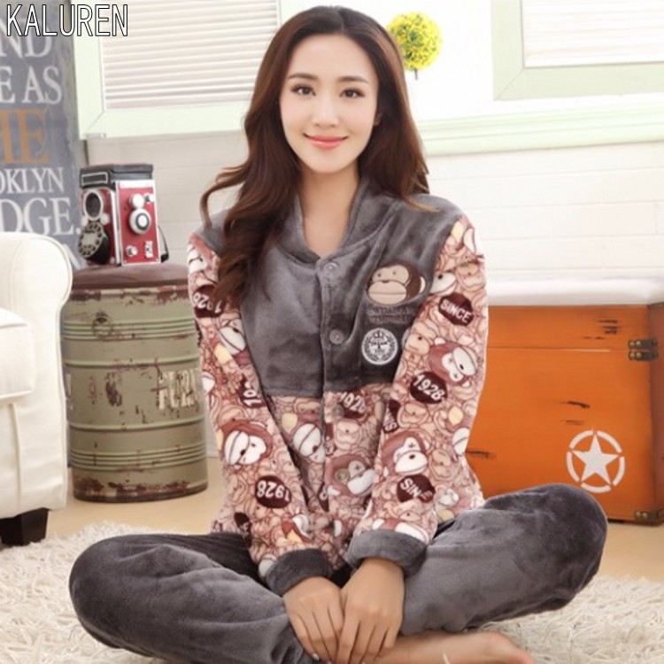 Free shipping Winter plus size XS-5XL thick flannel fat sleepwear women female   set   coral fleece big   Pajama     Sets   for 40-140 kg