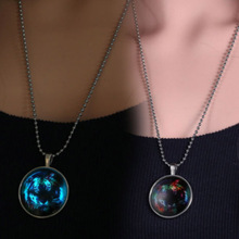 New Jewelry Round Glass Pendant Luminous Necklace Animal Tiger Shape Glow In The Dark Necklace Gift