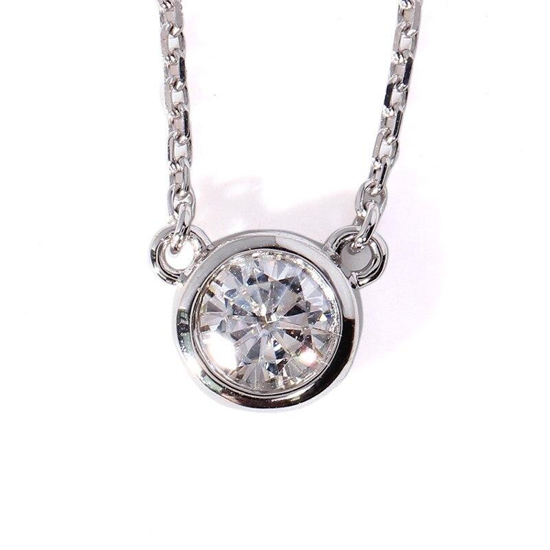 Brilliant Solid 18K 750 White Gold 1 Carat ct F Color Solitare Lab Grown Moissanite Diamond Pendant Necklace Women Fine Jewelry jinhui 18k 750 0 05 ct jh bs1380