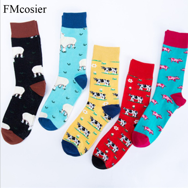5 Pairs Winter Cotton Thick Mens Funny Socks For Men Happy Crew Socks Calcetines Man Sokken Heren Gifts Socken 44 46 42