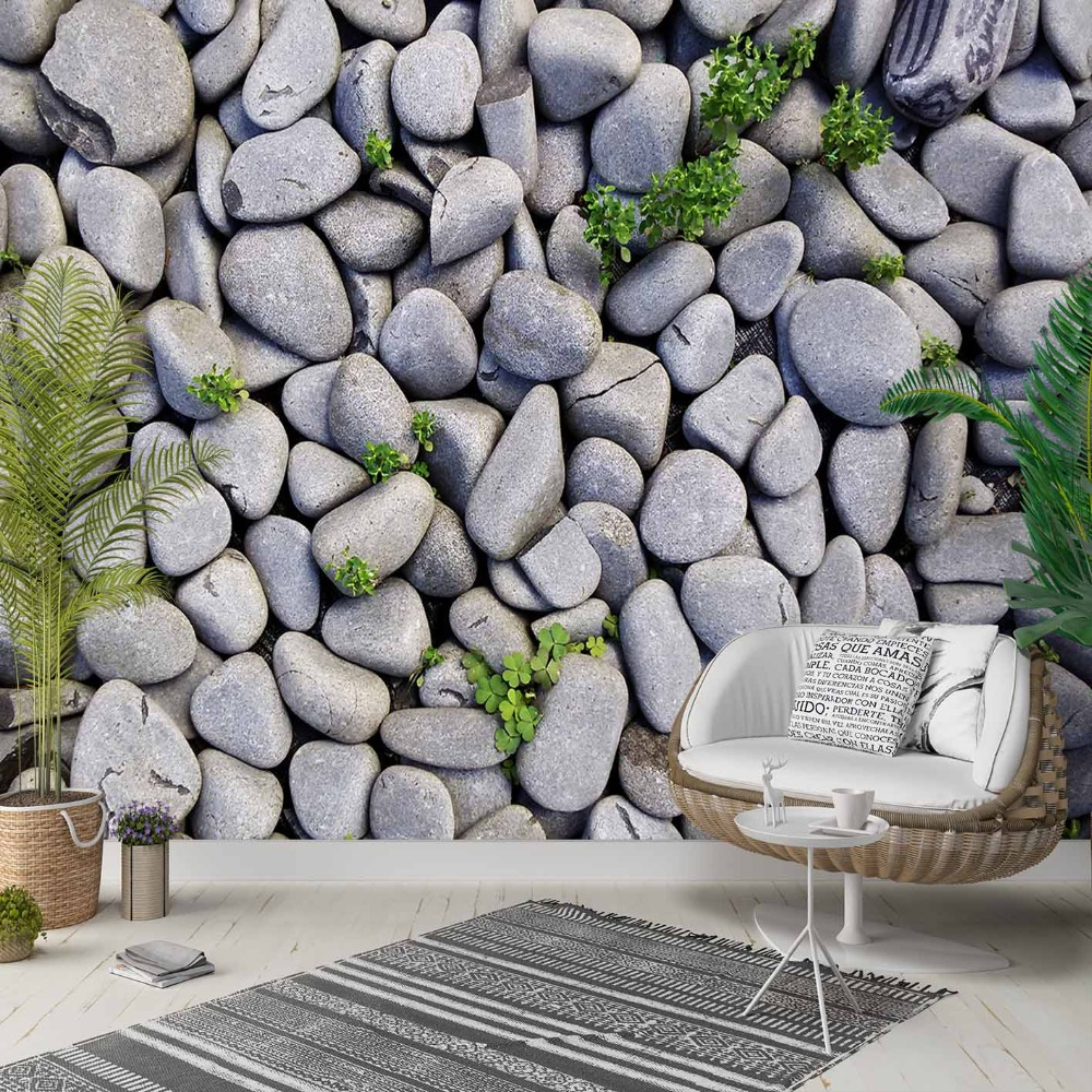 Else Gray White Pebble Stones Green Ivy Leaf 3d Photo Cleanable Fabric Mural Home Decor Living Room Bedroom Background Wallpaper