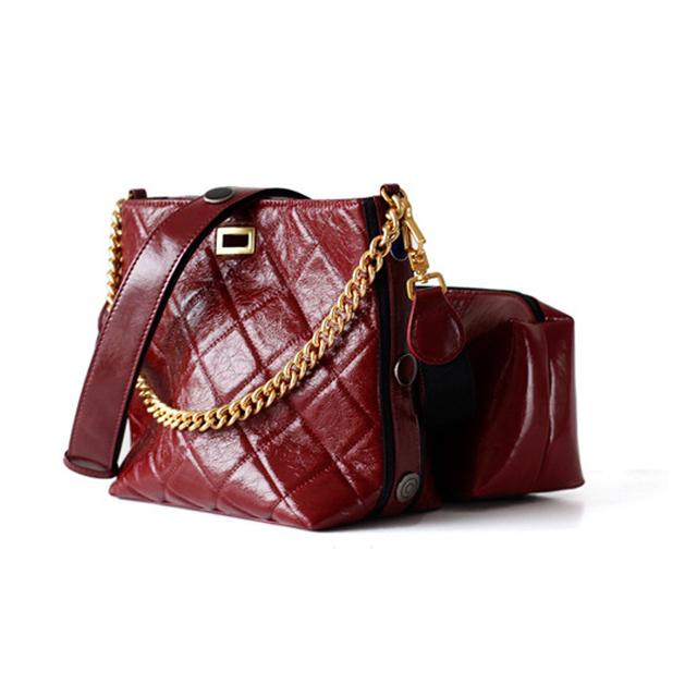 Nuleez genuine cowhide cross-body tote bag women bucket bag brand wallet two straps C muti-use purse dark green 2019