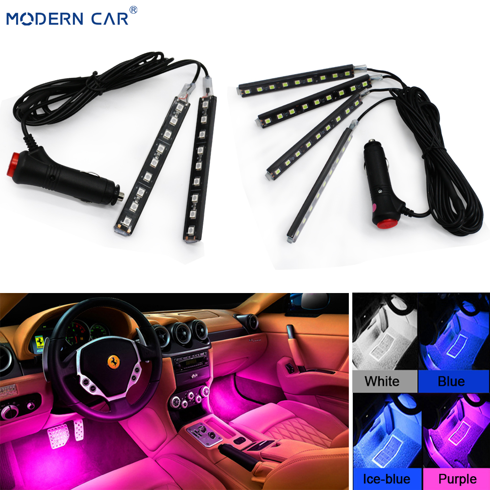 MODERN CAR 9 LED 2/4 In 1 Interior 5050 Atmosphere Lights Dash Floor Foot Strip Lights Cigarette Lighter Adapter Decorative Lamp